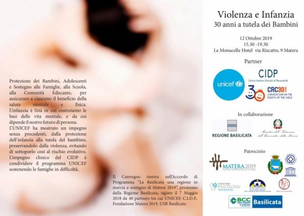 """Evento Unicef Basilicata """"Violenza e Infanzia, 30 anni a tutela dei bambini"""""""