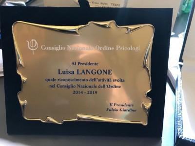 Riconoscimento del CNOP alla Presidente Langone